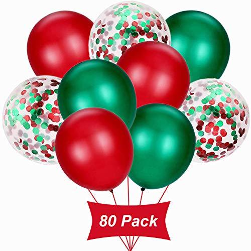 Juego de bolas de Navidad Gxhong de 80 piezas Juego de globos de confeti rojo y verde Globos de helio de látex Globos de fiesta temática de Navidad para fiestas navideñas, bodas, fiestas de cumpleaños, fiestas y otras ocasiones Suministros de decora...