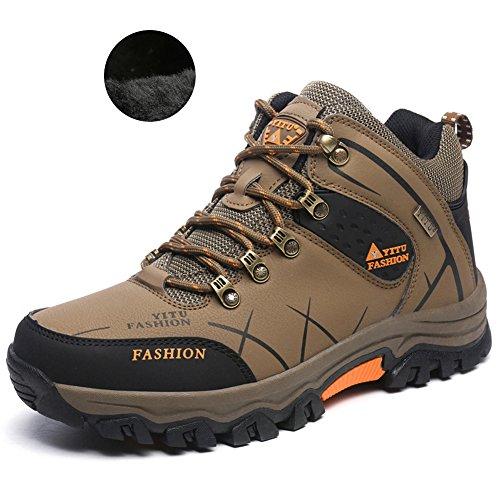 Laiwodun Herren Trekking Wanderschuhe Sports Outdoor Wasserdicht Gleitsicher Stiefel mit perfekter Dämpfung Dicker (Thicker,Braun 47)