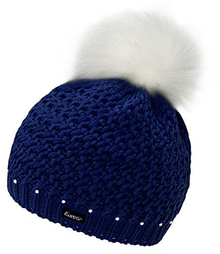 Damen Strickmütze Strick Mütze Beanie Fake Fux Pompon Bommel abnehmbar warm