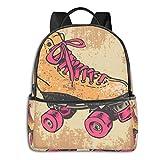 Lässiger Rucksack, große Kapazität, Diebstahlschutz, Mehrzweck-Bookbag Rucksack für Sport, Outdoor, Laufen, Retro-Rollschuhe, Geschenk, für Jungen Mädchen, Reisen, Wandern, Camping