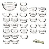 Viva Haushaltswaren mini-Set di 30 piatti in vetro, la cottura di ingredienti, spezie, salse, diametro 7,5 cm, per antipasti e Tapas, con mini-Cucchiaio in legno