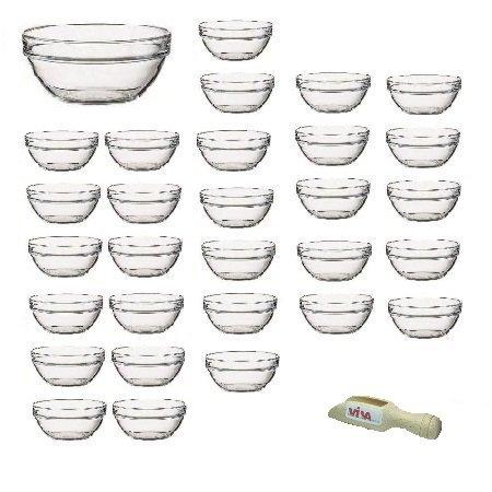 Viva Haushaltswaren - 30 x Mini-Schüssel aus Glas (Ø 6 cm), als Glasschälchen sowie als Dipschale, Dessertschale, Tapasschale geeignet (inkl. kleiner Holzschaufel 7,5 cm) Mini-schüssel