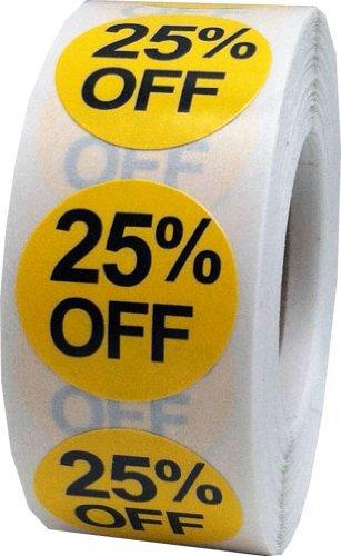 Amarillo Circulo 25% de Descuento Pegatinas, 19 mm 3/4 Pulgada Redondo, 500 Etiquetas en un Rollo