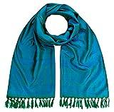 Maharanis Handgewebter Jacquard Seidenschal 100% reine Seide grün-blau 55cm x 180cm