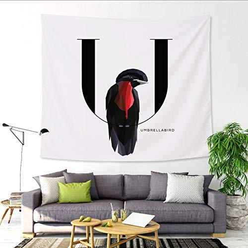 mmzki 26 Englisch Alphabet Tapisserie Cartoon Tier Wandbehang Malerei Decke U 150x130