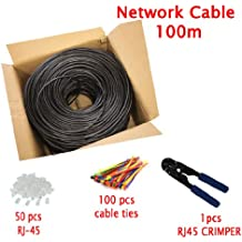 Multi-Cables Esterni CAT5E 100m, impermeabile esterna di uso-interramento diretto FTP cavo di rete ethernet - 350 Mhz, con pinze a crimpare, 100 metro