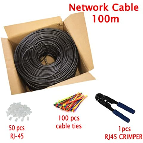 Multicable de red ethernet Cat5E exterior - con herramienta de crimpado - FTP - CCA - (100 metros)