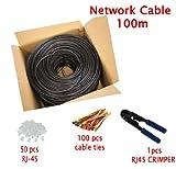 MultiKable - CAT5E Patchkabel 100m Außen Verwendung wasserdicht - FTP - Direct Burial Ethernet Netzwerkkabel /Ethernetcable - Mit Crimpzange -50 RJ45 PCS -CCA - 100 meter