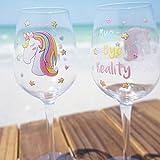 EinhornLiebe® Weingläser Set Einhorn Glas Bye Bye Reality Rotwein Weisswein 2 Stück im Geschenk Karton - 6