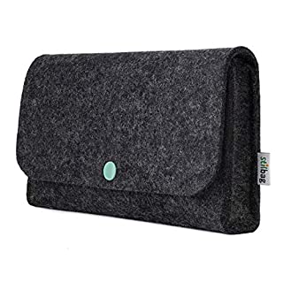 stilbag Tasche NIVO für Elektronik Zubehör aus Wollfilz anthrazit, Knopf Mint