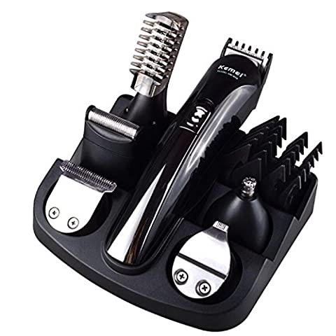 Mens 11 in 1 Rechargeable Cordless Electic Grooming Kit with Hair Clippers, Moustache Beards Shaver Trimmer, Nose Hair and Eyebow