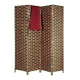 Relaxdays Raumteiler 4-teilig, blickdichter Paravent in Ziegelstein Optik, Sichtschutz Trennwand HxB 180x170 cm, braun