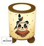 Ilka parey WANDTATTOO Mundial de® Lámpara de Mesa lámpara de Noche lámpara de Mesa niños Lámpara Repetición Panda Chica Indios Boho con Puntos tl050