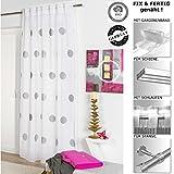 4 Trendy Living Schlaufenschal, Dekoschal, Gardine, Vorhang, weiß, bestickt, Punkte, anthrazit, 135x245 cm, 1er Pack, halb-transparent