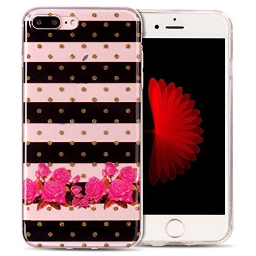Cover iPhone 7 Plus Spiritsun Case iPhone 8 Plus Custodia Moda Ultraslim Trasparente Soft TPU Case Handy Cover High Quality Case Elegante Souple Flessibile Liscio Copertura Perfetta Protezione Shell M Zebra