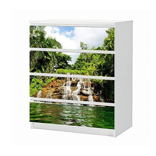Wasserfall Schublade (Set Möbelaufkleber für Ikea Kommode MALM 4 Fächer/Schubladen Wasserfall Wasser Palmen Palme baum Landschaft Wald Aufkleber Möbelfolie sticker (Ohne Möbel) Folie 25B1599)