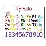 Tyrese-personnalisée pour enfant Alphabet et chiffres éducatif Premium Tapis de souris (5mm d'épaisseur).