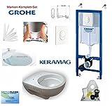 Grohe Vorwandelement mit Drückerplatte, Keramag Renova Nr. 1, rimfree, Spülrandlos, Tiefspül-WC, inkl. Sitz und Beschichtung