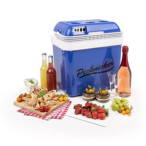 Klarstein Big Picknicker • Thermo-Kühlbox • Warmhaltebox • Thermobox • Mini-Kühlschrank • 24 Liter • leiser ECO-Modus • AC / DC Netzkabel • 2 Betriebsmodi • Tragehenkel • herausnehmbarer, spülmaschinengeeigneter Gittereinsatz • ca. 3,0 kg • 48 Watt • blau