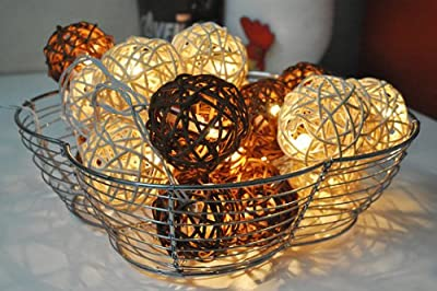 Autumn Browns Rattan Ball Fairy String Ideal Wedding, Christmas & Party String Lights 20 Lanterns by Jumboshop