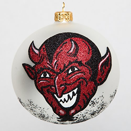 Home and Holiday Shops The Devil Face with Pitchforks Polish Glass Ball Halloween Tree Ornament Poland