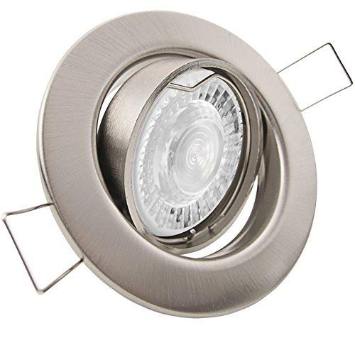 3er Set (3-8er Sets) Einbaustrahler DECORA; 230V GU10; SMD LED 7,5W = 70W; DIMMBAR; Warm-Weiß; EDELSTAHL OPTIK gebürstet; schwenkbar, Leuchtmittel austauschbar; Einbauleuchte Downlight -