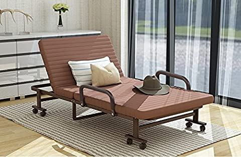 Luxury Single Folding Guest Beds with Adjustable Backrest Fold Lounge Chair with Metal Frame and Soft Mattress