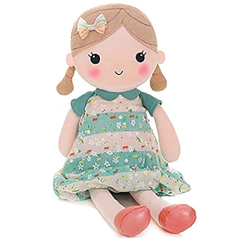 Gloveleya Frühlings-Tuch kleiden oben Baby-Puppe-Kind-Geburtstag-Geschenke 16inches (Grünes Kleid)