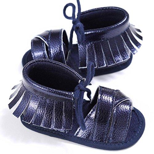 Saingace Neugeborene Mädchen Jungen Krippe Schuhe Soft Sole Anti-Rutsch Baby Sneakers Quaste Sandalen Marine