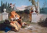 Kunstdruck/Poster: Giovanni Battista Tiepolo Rinaldo und Armida werden von Ubaldo und Carlo überrascht - hochwertiger Druck, Bild, Kunstposter, 100x70 cm