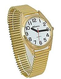 Ravel hommes de cadran rond blanc bracelet extensible doré Montre r0225.02.1