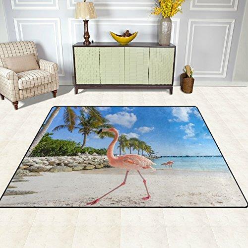 Bereich Teppich, tropischen Palm Flamingo in Teppich Beach Print Super Soft Polyester Große rutschfeste modernes Bad-Teppiche für Schlafzimmer Wohnzimmer Hall Abendessen Tisch Home Decor 121,9x 160cm, Textil, multi, 48 x 63 inch