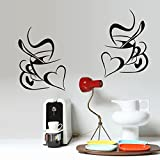 Ufengke® Creativo Cuore Tazza Di Caffè Adesivi Murali, Sala Da Pranzo Cucina Adesivi Da Parete Removibili Stickers Murali Decorazione Murale
