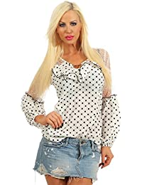 5bf5bc44a330 11454 Fashion4Young Damen Bluse Tunika Gepunktet Chiffon Rüschen Langarm  Damenbluse Punkte PolkadotsSommer