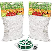 HYDGOOHO Plant Trellis Netting 5x30ft 2-Pack Trellis Net Heavy-Duty Polyester Plant Support Vine Climbing Hydroponics with/Garden Twine