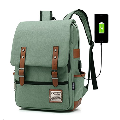 Unisex Multiuso Zaino con porta USB, FEWOFJ Zaino Per PC Portatile Impermeabile da uomo borsa universitaria daypack Per La Scuola, Business (verde)