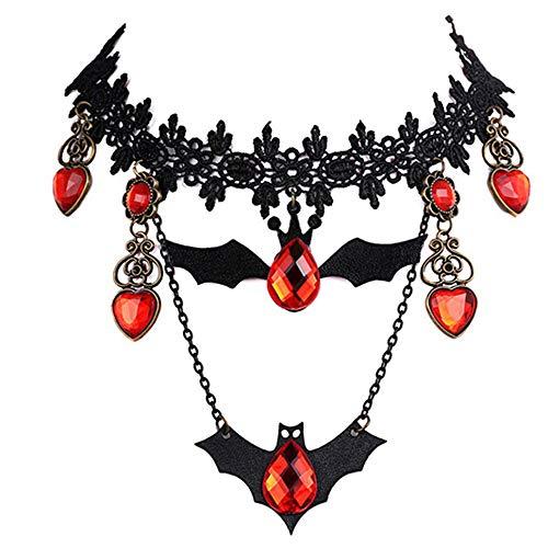 KDSANSO Halloween Halskette Rot,Halloween Vintage Fledermaus Schwarze Seite Rote Herzförmige Kristall Anhänger Spitze Choker Halskette,Schwarz 41+5cm