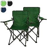 Faltstuhl 2er Set Campingstuhl mit Armlehne und Getränkehalter grün
