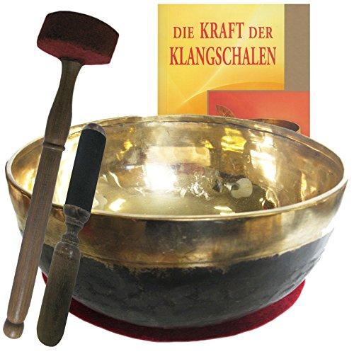 Klangschale Bengali gold-schwarz 4-teiliges Klangmassage-SET mit BUCH   Therapie-Qualität: XXL-BECKENSCHALE   Ca. 3000-3200g ca. 30-32 cm Ø #70157   Mit Kissen, Holz-Leder-Klöppel.