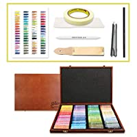 Mungyo Gallery Soft Oil Pastels Wood Box Set of 72 with Drawing Materials (Sandpaper, Blending tortillon, Chalk Holder, Masking Tape, Color Chart, Blending Tissue Paper, Colored Pencil)