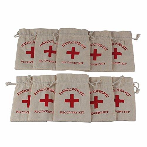 Yalulu 20 Stück Natur Jutesäckchen Hangover Kit Bags Baumwollbeutel Leinen Erste-Hilfe-Kits Säckchen Perfekt für Hochzeit Party-Zubehör,10*15cm