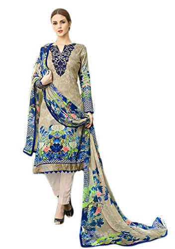 Anasha Fashions Pakistani Style Cotton Digital Print And Emberiordered Salwar Kameez