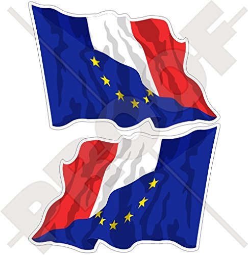 europe-france Waving Flag, eu-fr europäischen union-french 7,6 cm (75 mm) Bumper Sticker, Aufkleber Vinyl X2 (links-rechts) (French Flag Bumper Sticker)