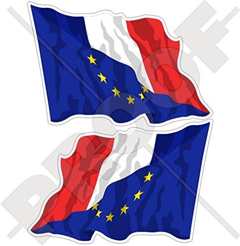 europe-france Waving Flag, eu-fr européenne union-french 119,4 cm (120 mm) Bumper en vinyle autocollants, Stickers x2 (gauche-droite)