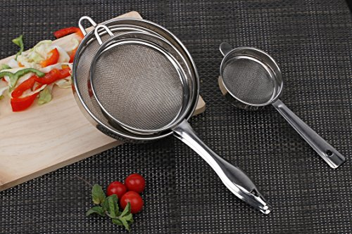 Homeish Fine Mesh Stainless Steel Strainer & Sieve Set of 3 (8cms, 12cms, 15cms)