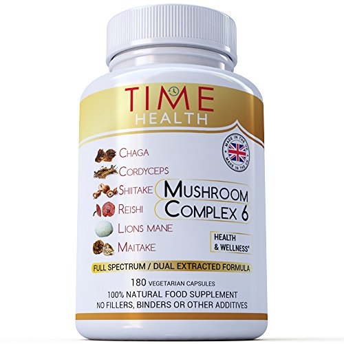 Mushroom Complex 6 – MAXIMUM STRENGTH 12000mg per Capsule - Chaga, Cordyceps, Shiitake, Reishi, Lions mane, Maitake - UK Manufactured to ISO 9001 quality assurance (180 Capsule Bottle) Test