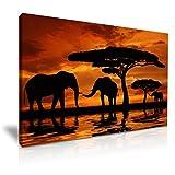Elefanten Sonnenuntergang Afrika Tiere Gespannte Leinwand Druck 76cm x 50cm