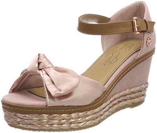 TOM TAILOR Damen 4890703 Riemchensandalen, Pink (Rose), 39 - Schuhe Keil Sandalen Damen Stoff