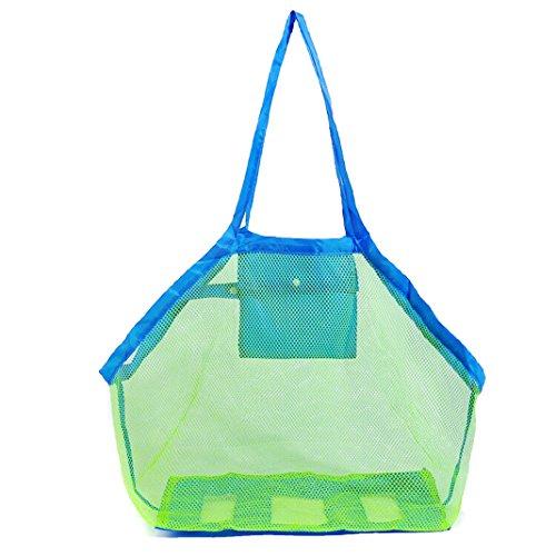 Rosa Schleife Beach Mesh Net Tote Bag, Large Foldable Sand Away Children Kids Beach Toys Balls Organizer Storage Bags HandBag Beach Laundry