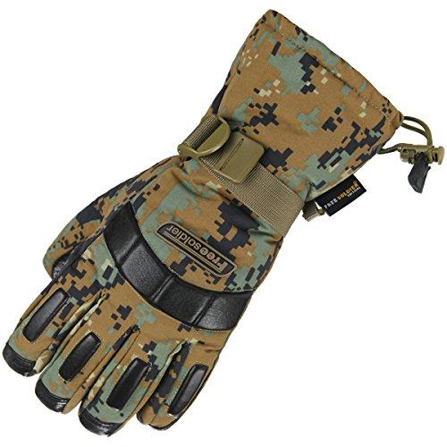 FREE SOLDIER Herren Winter Outdoor Ski Wasserdichte Vollfinger Handschuhe Verdicken rutschfeste Schaf Leder Wandern Handschuhe(Jungle Digital)